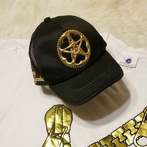 OBEY Trucker Hat with Andre the Giant Gold Logo